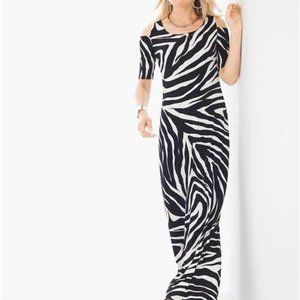 Chicos Cold Shoulder Zebra Print Maxi Dress